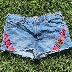 FREE PEOPLE Short Denim With Embroidery